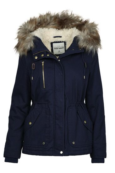 Navy Parka with Faux Fur