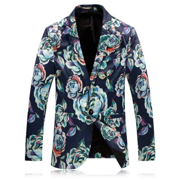 Fashion Mens Floral Blazer Slim Fit One Button Brand Clothing Mens Casual Printed Prom Blazers