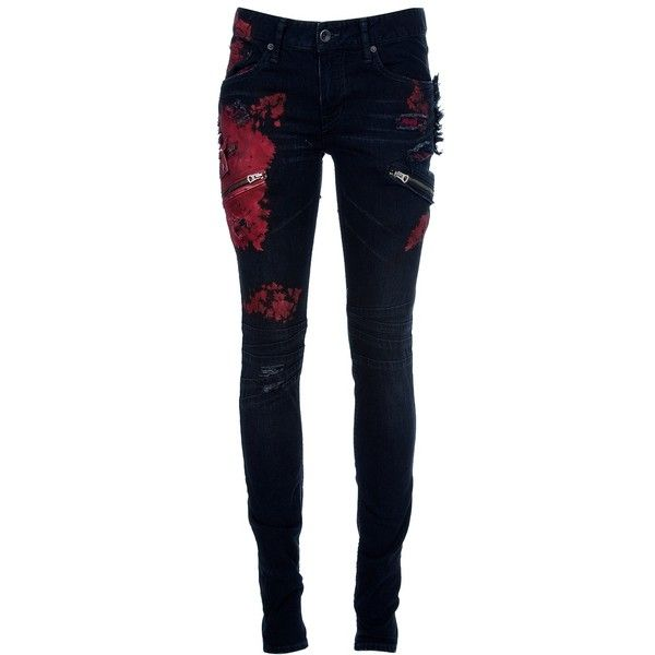 L.G.B. Tie-dye skinny jean (4.990 DKK) ❤ liked on Polyvore featuring jeans, pants, bottoms, calças, patched jeans, skinny leg jeans, 5 pocket jeans, blue skinny jeans and zipper jeans