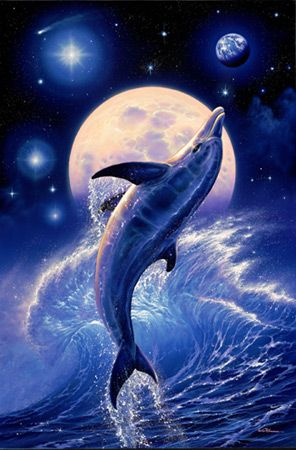 Dolphin Poster Fantasy Art 22X34 Moon Light Wave 6238