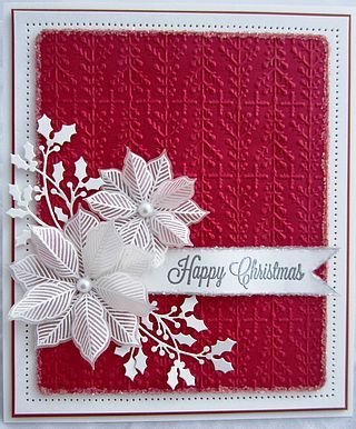 handmade Christmas card from PartiCraft (Participate In Craft) blog ... red and white ... delicate die cut holly flourishes .. white embossed, die cut and lyered poinsettia ... embossing folder textured background ... shabby chic ... luv it!