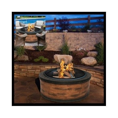 Stone-Fire-Pit-Outdoor-Wood-Burning-Rustic-Fireplace-Heater-Round-Patio-Backyard