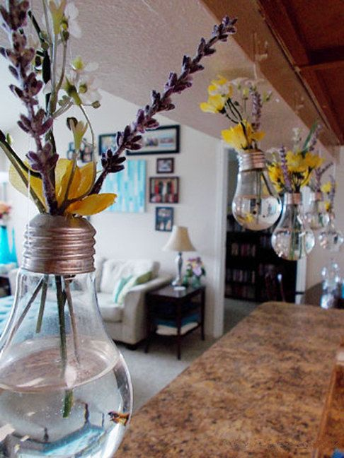 Vintage Vase from Recycled Light Bulb. Love this if you don't have lights over your island! :D