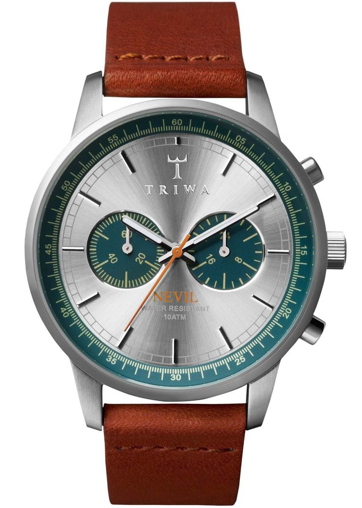 Smart armbåndsur med blank stål kasse og brun læderrem - Triwa Petroleum Nevil NEST107