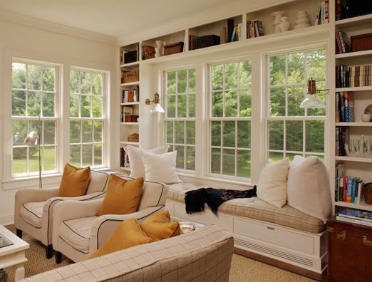 Beautiful Shelving Around Big Windows Contemporary