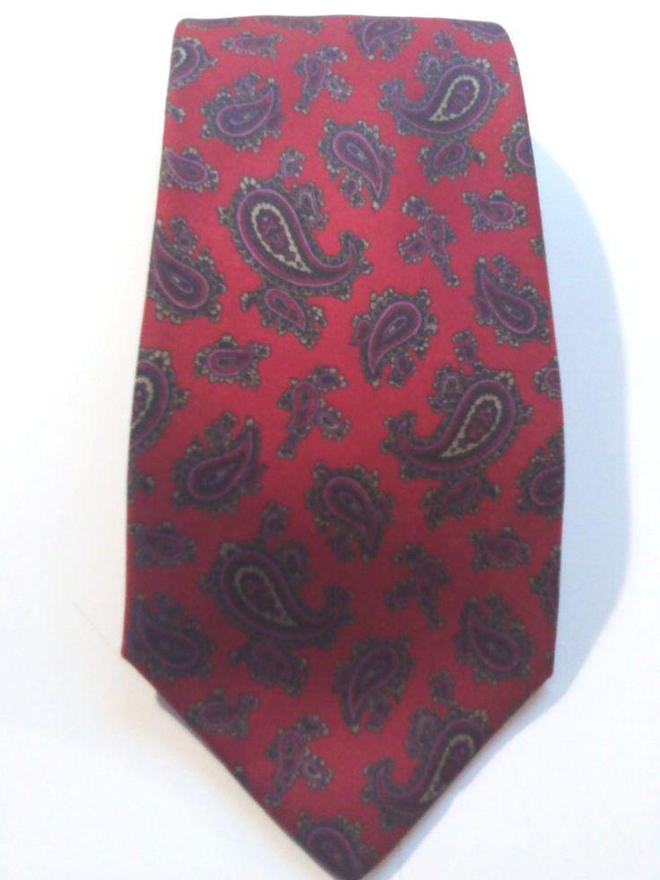 Harry Rosen Red Paisly Design Tie   100% Silk Necktie.  CA 00572. | eBay
