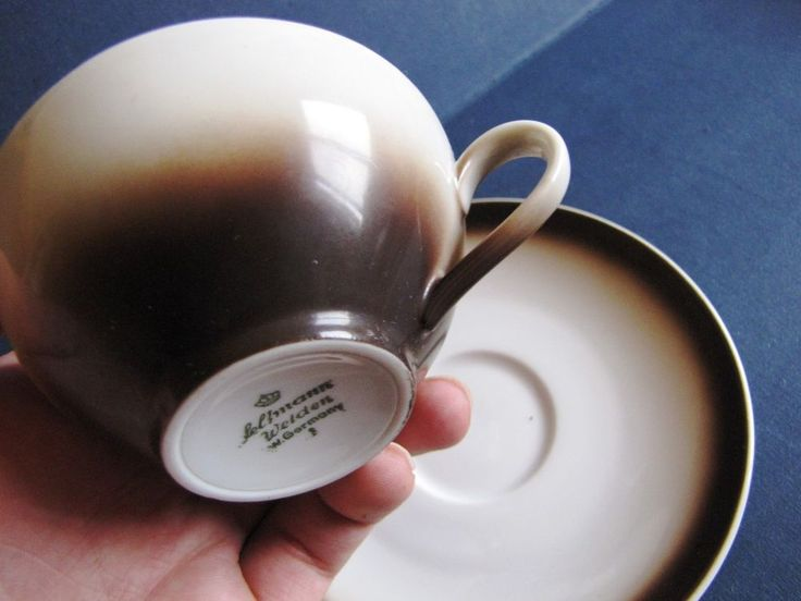 Vtg Seltmann Weiden Bavaria Germany Tea Coffee Cup saucer white brown QUALITATS