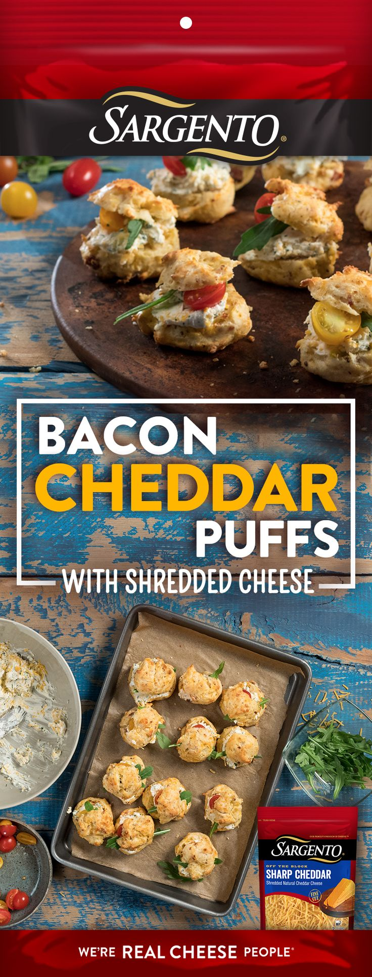 Try these tasty morsels for the ultimate appetizer. These Bacon Cheddar Puffs, made with Off-The-Block Sargento® shredded cheese, will have everyone coming back for seconds… and thirds.