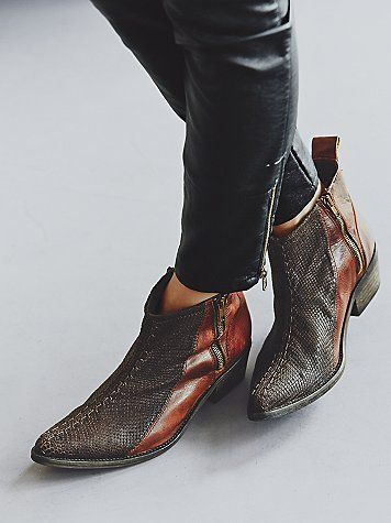 western inspired washed leather ankle boots with hand-stitched snakeskin textured leather