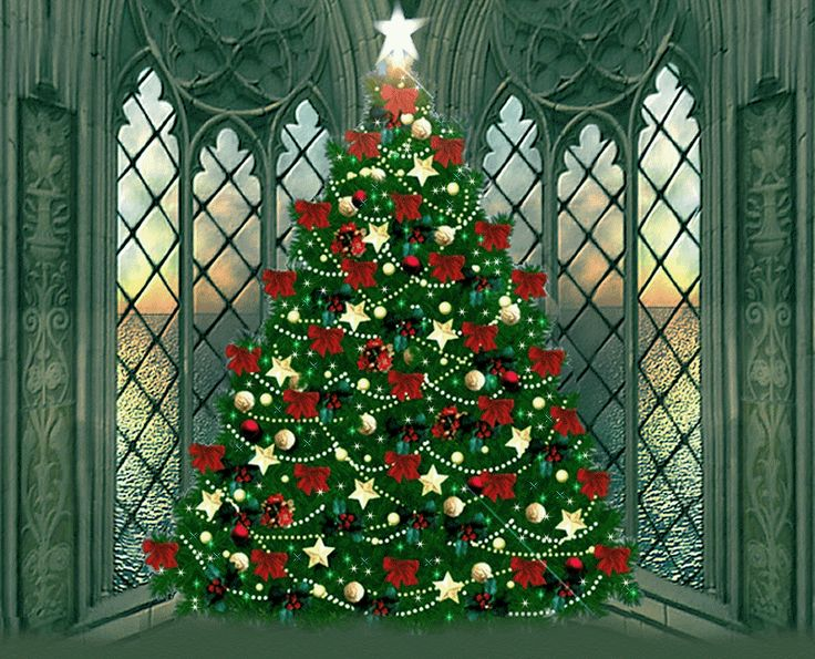 Christmas Tree in a Corner Window animated gif christmas christmas tree ornaments christmas decorations graphic