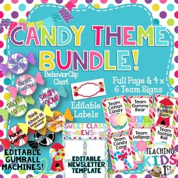 "Cute Candy Theme Bundle!! Includes:Editable Newsletter TemplateEditable Labels""Chews"" Good Behavior Clip Chart Set with editable gumball machines6 Team Signs (full page and 4x6) Click HERE to see each product listed separatelyEnjoy and please leave feedback!!"
