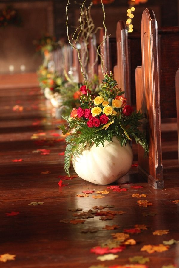 Indoor Ceremony Aisle Lined with Pumpkin Filled Flowers|32 Ways to Use Pumpkins in Your Fall Wedding| Smith Squared Photography