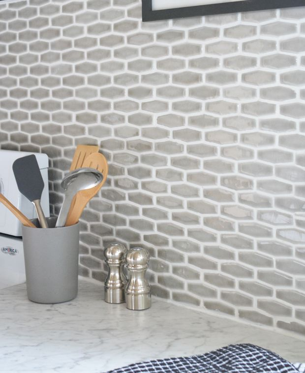Budget Kitchen Makeover | Centsational Girl Villa Elongated Hexagon in Pewter