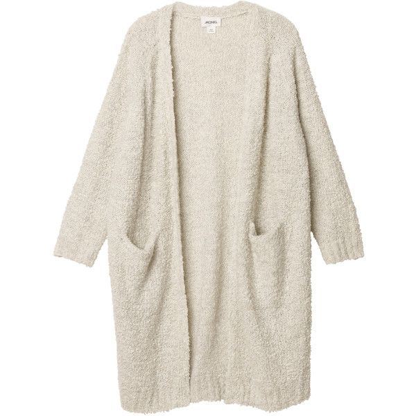 Monki Zosia knitted cardigan (3.720 RUB) ❤ liked on Polyvore featuring tops, cardigans, outerwear, jackets, old ice white, long cardigan, white tops, white cardigan, monki and relaxed fit tops