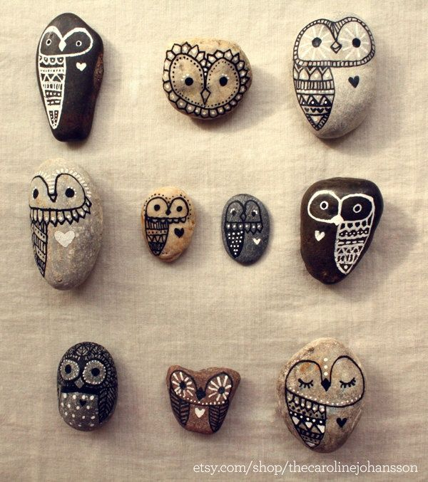 Hand Painted Rock Owls-Cute