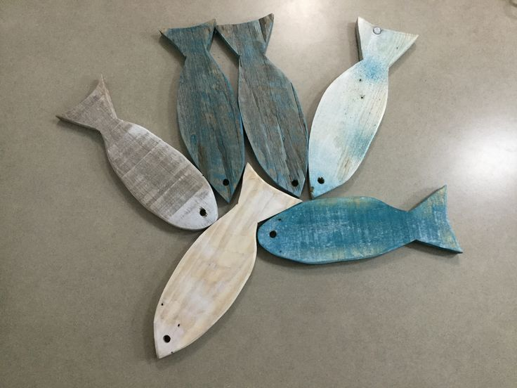 Wood painted fish for beach house.