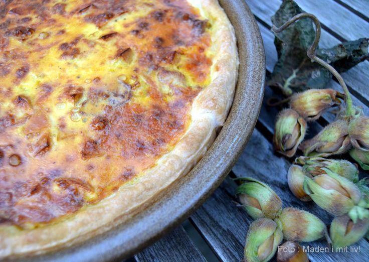 efterårstærte med kylling, bacon, spidskål og æble
