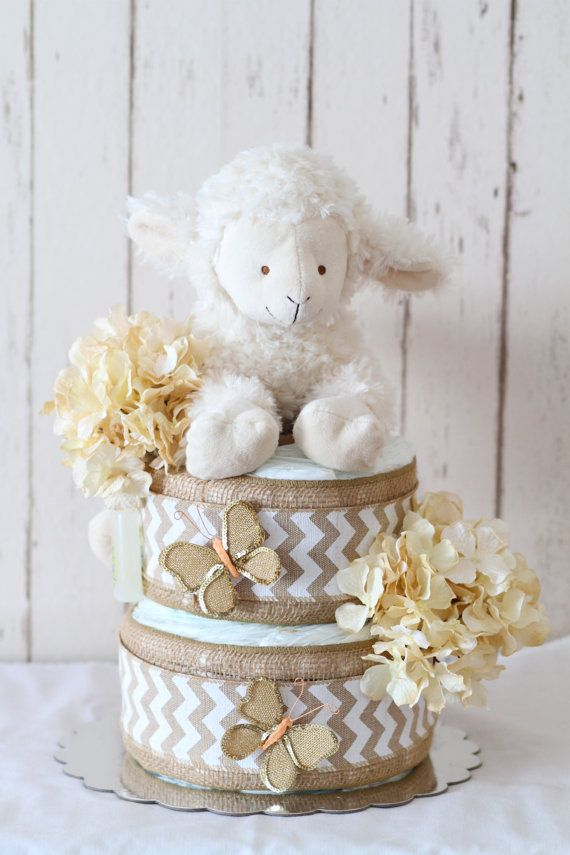 Lamb and burlap diaper cake by MckayCakesnCrafts on Etsy