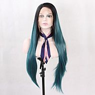 Natural Long Straight Fashion Realistic Black Roots Ombre Lake Blue Synthetic Lace Front Wigs Heat Resistant Half Hand Tied Fiber Hair for Women