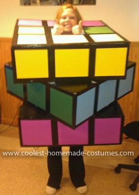 Homemade Rubiks Cube Costume: This year I decided on a human Homemade Rubiks Cube Costume! I bought 10 x 30 foam core boards from Michaels arts and crafts store. I cut the boards in