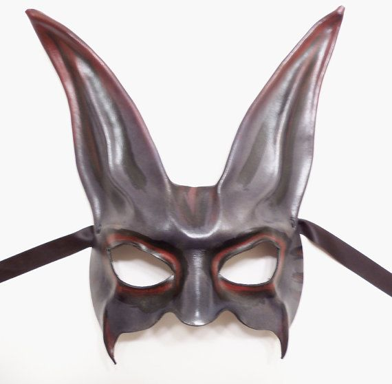 grey black red rabbit leather mask a little creepy by teonova 79 00