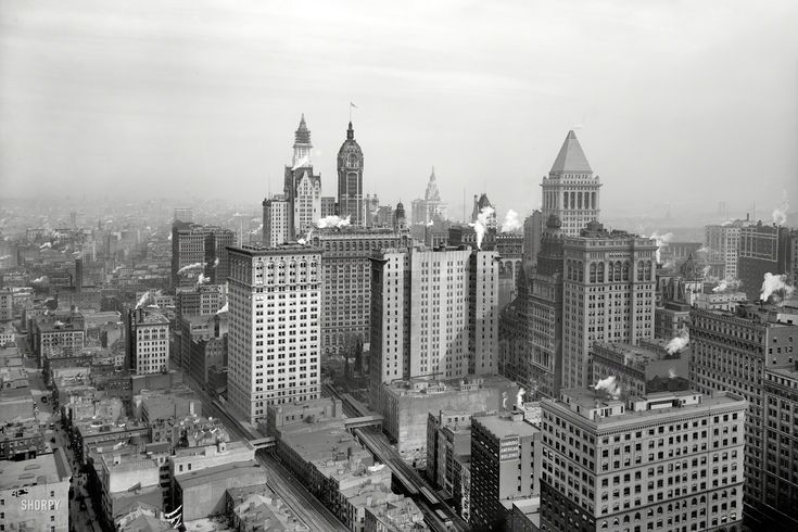 """New York circa 1912. """"The big buildings of Lower Manhattan."""" Landmark skyscrapers include the Woolworth (left) and Municipal buildings nearing completion, as well as the Singer and Bankers Trust towers. Panorama made from two 8x10 inch glass negatives.  Shorpy Historic Picture Archive :: Gotham Rising: 1912 high-resolution photo"""