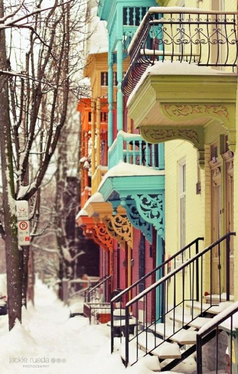 Montreal: Colour, Building, Balconies, Winter Wonderland, Snow, Colors Houses, Places, Montreal Canada, Bright Colors