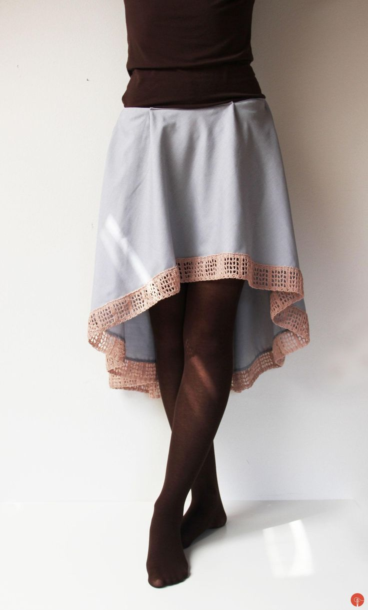 My new asymmetrical skirt with handmade crochet lace