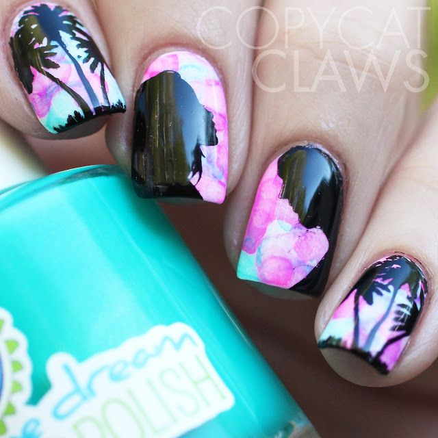 Stamping over watercolour nails