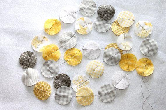 Fabric Circle Garland  Soft Yellow and Gray by SugarOwlDesign, $15.00: Decoration Inspiration, Circles, Circle Garland, Baby Rooms, Fabric Garland, Craft Ideas, Crafts, Baby Shower
