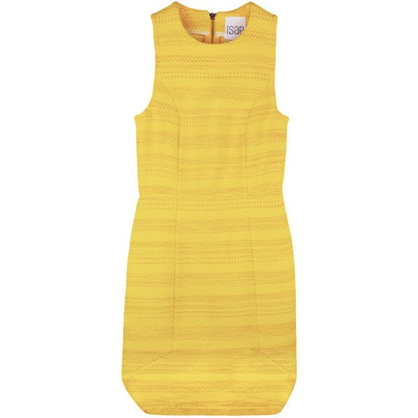 Womens Cocktail Dresses ISAE STUDIO THAIS ($460) ❤ liked on Polyvore featuring dresses, panel dress, yellow dress, exposed zipper dress and jacquard dress