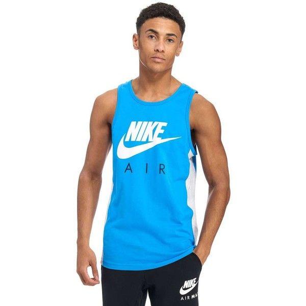 Nike Air Vest ($29) ❤ liked on Polyvore featuring men's fashion, men's clothing, men's outerwear, men's vests, mens cotton vest, mens white vest, mens blue vest, mens summer vests and mens vest