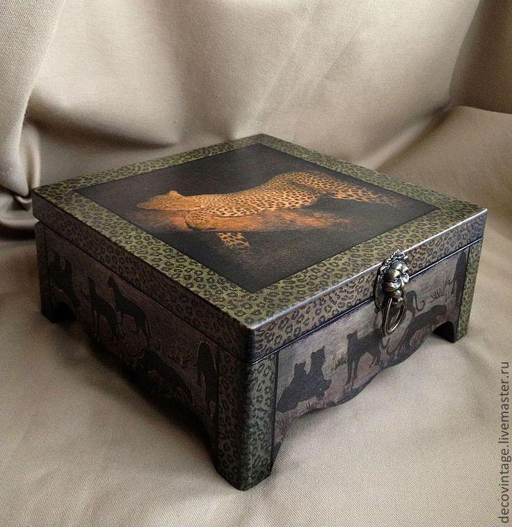 Купить Шкатулка Ягуар - черный, шкатулка, шкатулка деревянная, шкатулка ручной работы, Декупаж, подарок