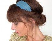 """Head-band en CUIR """"plume"""" détails fil d'Or ---> Bleu : Accessoires coiffure par lucky-rosetta"""