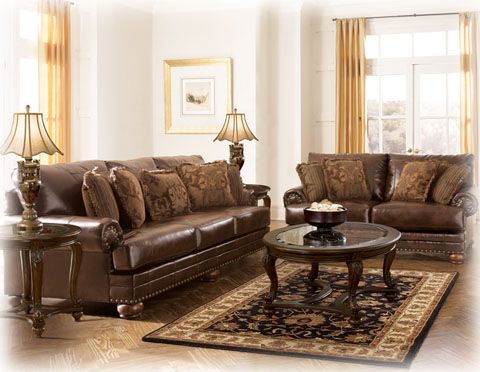 DuraBlend Traditional Antique Leather Living Room Set