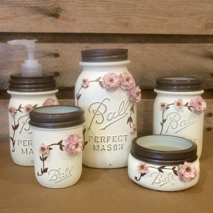 Shabby Chic Mason Jar Bathroom Set Mason Jar by AmericanaGloriana