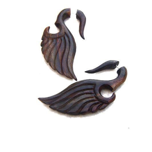 Fake Gauge Earrings, Wing Carving AA027
