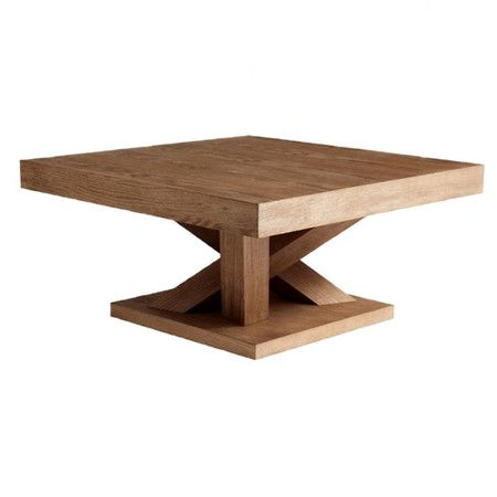 square ash wood coffee table in driftwood with a branching base product coffee table