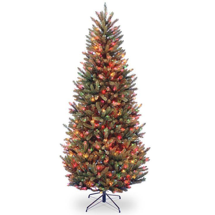 7.5-ft. Pre-Lit Multicolor Natural Fraser Slim Artificial Christmas Tree, Green