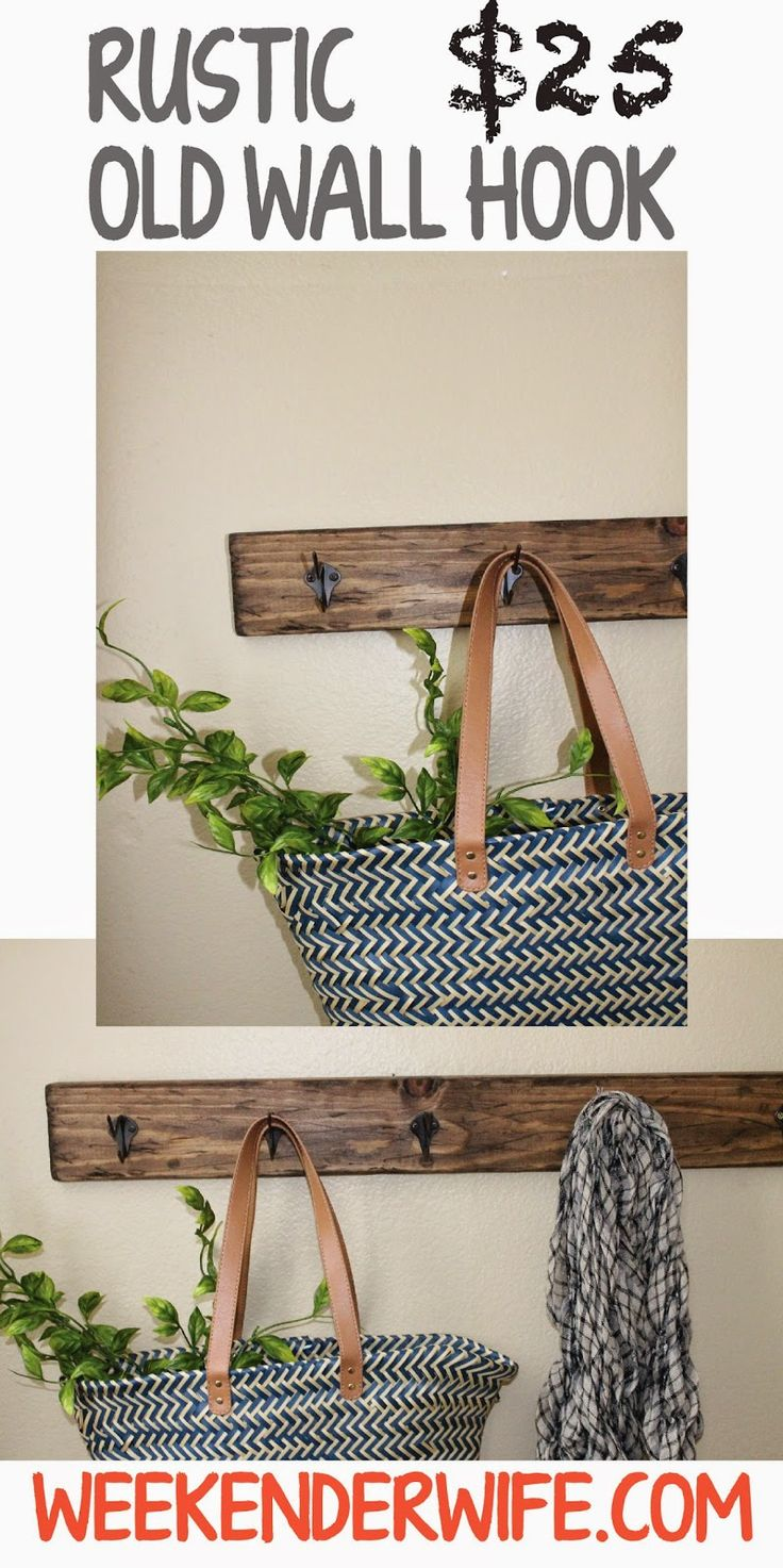 diy rustic hook decor the weekender wife woodworking on useful diy wood project ideas id=27806