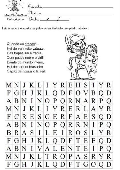 atividades sobre a independencia do brasil caça palavras