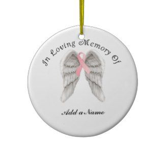 Pink Ribbon Angel Wings Memory X-Mas Ornament