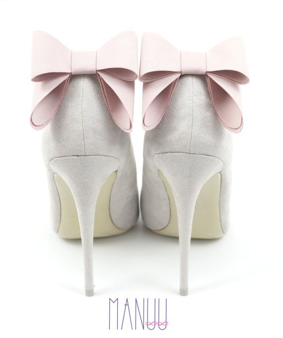 Light pink bows shoe clips Manuu wedding by ManuuDesigns on Etsy