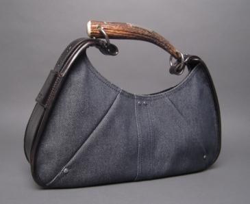 Yves Saint Laurent YSL Blue Denim Mombasa Horn Bag | Bags sacs ...