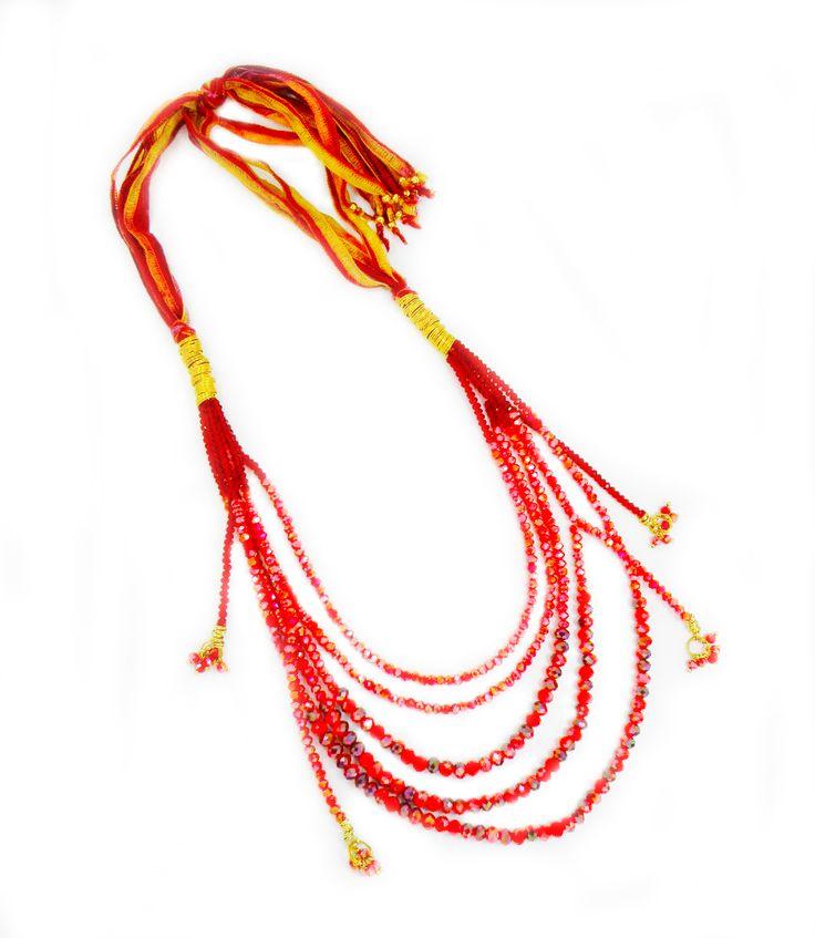 collar seda con murano rojo