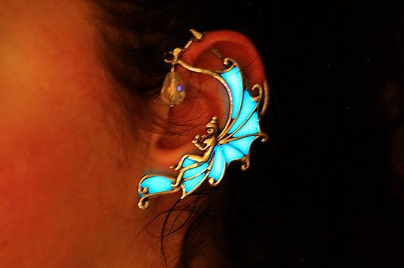 GLOW in the DARK Angel Ear Cuff  Fairy Ear Cuff by Papillon9, $28.95