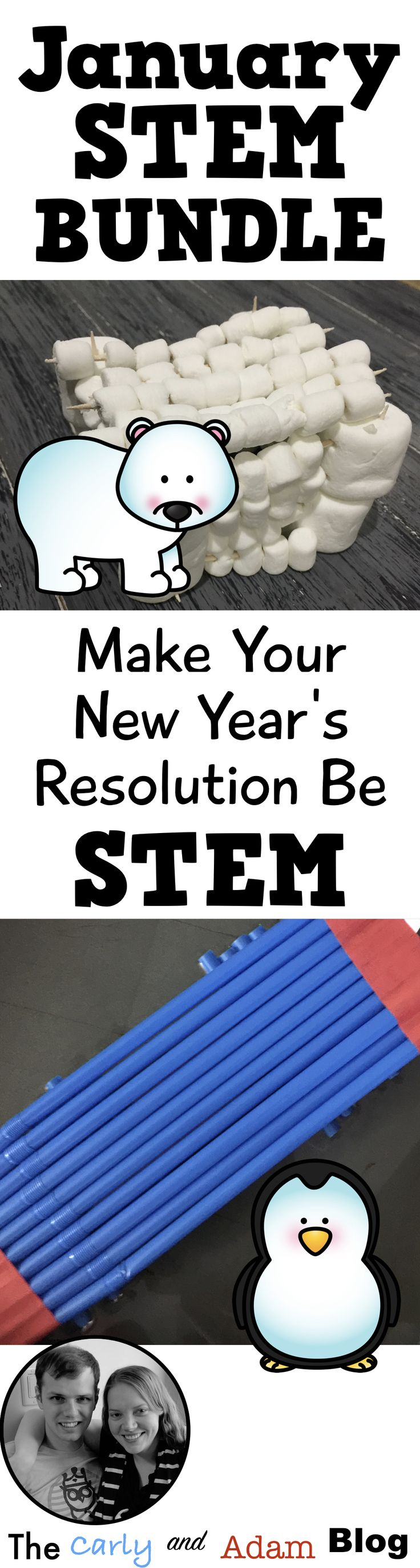 Integrate STEM into your classroom in the new year with January STEM activities. (Build a Polar Bear Den, Design a Snowflake, Build a Penguin Raft, and Martin Luther King Jr. STEM) From The Carly and Adam Blog