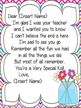 END OF THE YEAR TEACHER LETTER TO STUDENTS AND PARENTS - TeachersPayTeachers.com