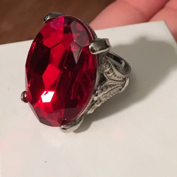 Disneyland pirate diamond red Costume Ring Warn once to show in photos. Size 6 and up. This ring is adjustable. Bought from the Disneyland Pirate Shop. Jewelry Rings