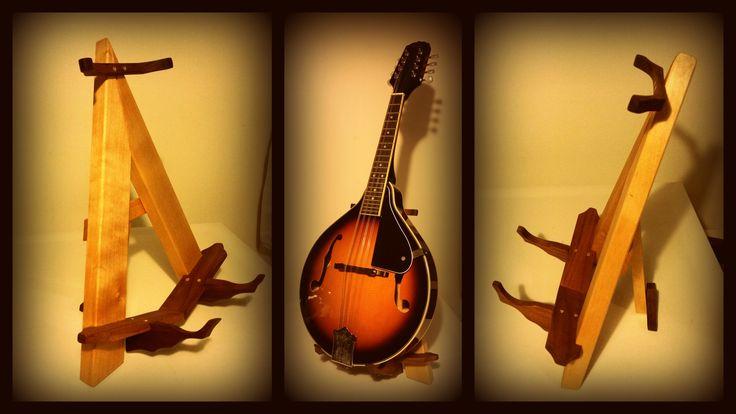 Pöytäteline mandoliinille. =) Just made a small desk stand for mandolin...  Koivua ja pähkinäpuuta / birch and walnut